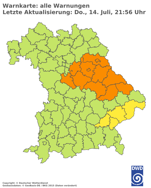 Aktuelle Wetterwarnungen für Erlangen-Höchstadt